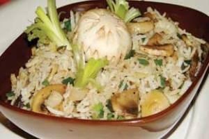 خوراك قارچ با برنج