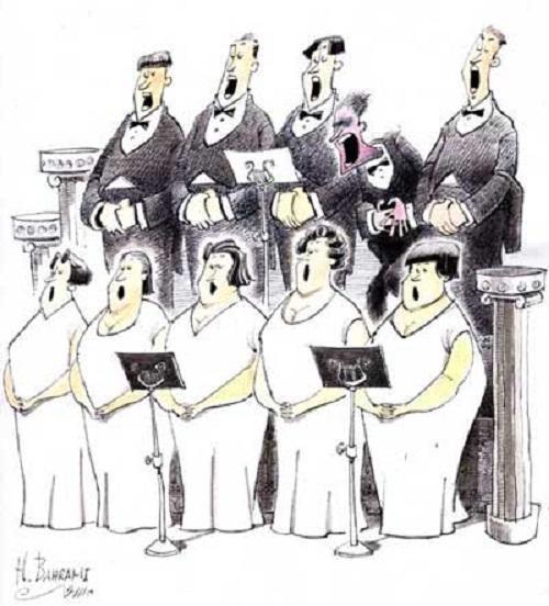 کاریکاتور طنز موسیقی آواز گروه کر